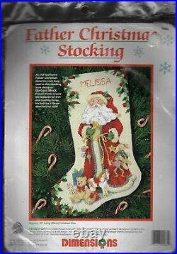 1993 DimensionsFather Christmas Stocking Needlepoint Kit #9085 New