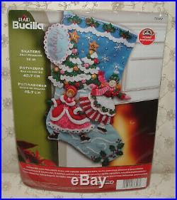 2012 Bucilla Felt Applique Christmas Stocking Kit UNOPENED Skaters