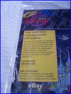Art of Disney Happiest Celebration Counted Cross Stitch Kit, Mickey, Castle, NIP