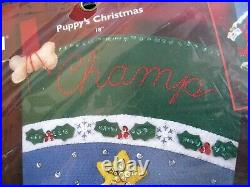 BUCILLA STOCKING FELT Holiday Applique KIT, PUPPY'S CHRISTMAS, Dog, House, 84853,18