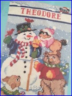 Bucilla 60707 Snowman Animals 18in Christmas Stocking Needlepoint Kit Vtg Fox