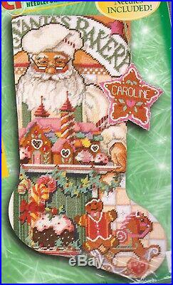 Bucilla Baker Santa Gingerbread Cookies Holiday Needlepoint Stocking Kit 60772