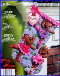 Bucilla Ballet Bears 18 Felt Christmas Stocking Kit #86143 Vintage 2008 RARE