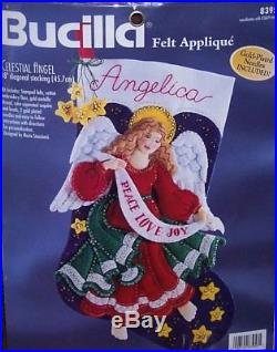 Bucilla CELESTIAL ANGEL Felt Christmas Stocking Kit #83956 Sterilized RARE 18
