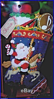 Bucilla CHRISTMAS CAROUSELFelt Santa Musical Stocking Kit Horse Factory Direct