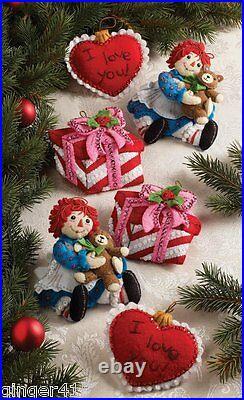 Bucilla CHRISTMAS MORNING RAGGEDY ANN Felt Ornament Kit (6) OOP RARE New