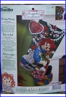 Bucilla CHRISTMAS MORNING Raggedy Ann Felt Stocking Kit RARE NEW