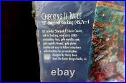 Bucilla Checking It Twice Christmas Stocking Needlepoint Kit 60766 Rossi Santa
