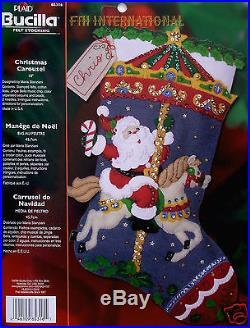 Christmas Stockings Kits.Bucilla Christmas Carousel 18 Felt Christmas Stocking Kit