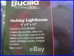 Bucilla Christmas FELT Applique Centerpiece Table KIT, HOLIDAY LIGHTHOUSE, 86057