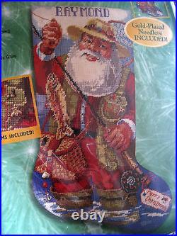 Bucilla Christmas Holiday Needlepoint Stocking Kit, FISHING SANTA, Gillum, 60782,18
