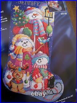 Bucilla Christmas Holiday Needlepoint Stocking Kit, SNOWMEN, 60756, Gillum, Size 18