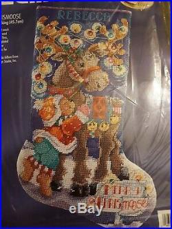 Bucilla Christmas Merry Chrismoose Needlepoint Stocking 60760 Kit Factory Sealed