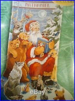 Bucilla Christmas Needlepoint Stocking 18 Kit 60759 WOODLAND STORYTIME NIP