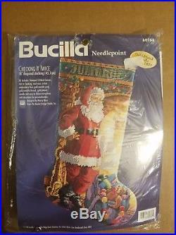 Bucilla Christmas Needlepoint Stocking Kit CHECKING IT TWICE #60766, Rossi, NIP