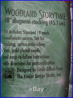 Bucilla Christmas Needlepoint Stocking Kit, WOODLAND STORYTIME, Santa, Animal, 60759