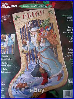 Bucilla Counted Cross Holiday Stocking KIT, FATHER CHRISTMAS, Rossi, 84636, Size 18