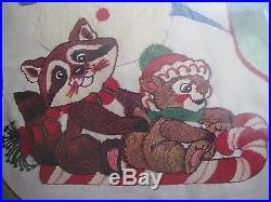 Bucilla Crewel Stitchery Embroidery Stocking KIT, CHRISTMAS CRITTERS, #82341,18