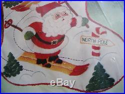 Bucilla Crewel Stitchery Embroidery Stocking KIT, DOWNHILL RACERS, Skiing, #82339