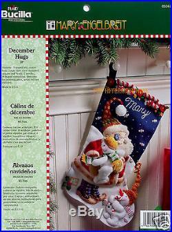 Bucilla December Hugs 18 Felt Christmas Stocking Kit #85341 Santa, Snowmen