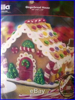 Bucilla Felt Applique Holiday Christmas Kit, GINGERBREAD HOUSE, Candy, 85261