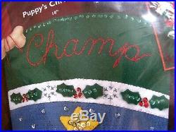 Bucilla Felt Applique Holiday Stocking Kit, PUPPY'S CHRISTMAS, Dog, 84853,18, NIP