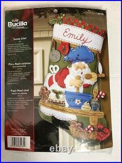 Bucilla Felt Christmas Stocking Kit Santa Chef #85435 OOP New Rare