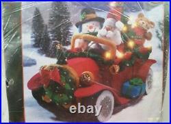 Bucilla Felt Embroidery Kit ULTRA RARE Santa's Vintage Christmas Car 3D New