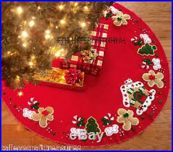 Bucilla Gingerbread House 43 Felt Christmas Tree Skirt Kit #85133, Cookies