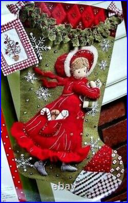 Bucilla HOLLY HOBBIE DAYS Felt Christmas Stocking Kit -Dutch Girl OOP New RARE