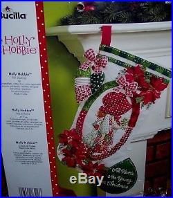 Bucilla HOLLY HOBBIE Felt Christmas Stocking Kit-VERYRARE Poinsettia Dutch Girl
