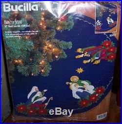 Bucilla HOLY FAMILY NATIVITY Felt Christmas Tree Skirt Kit Sterilized RARE OOP