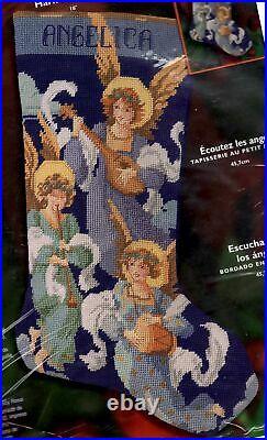 Bucilla Hark the Angels Christmas Music Religious Needlepoint Stocking Kit 84829