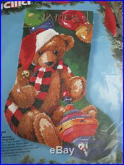 Bucilla Holiday Christmas Needlepoint Stocking Kit, SANTA BEAR, Rossi, 18, #60722