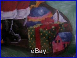Bucilla Holiday Christmas Needlepoint Stocking Kit, SANTA & TOYS, Bear, Tree, 60767