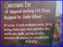 Bucilla Holiday Needlepoint Stocking Kit, CHRISTMAS EVE, Gillum, Santa, Toys, 60740