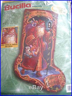Bucilla Holiday Needlepoint Stocking Kit, FATHER CHRISTMAS, Rossi, 18 Mesh, 60769