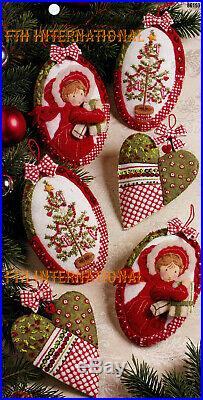 Bucilla Holly Hobbie Days 6 Piece Felt Christmas Ornament Kit #86159