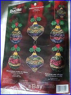 Bucilla Jeweled Ornaments stocking, ornaments and tree skirt kits