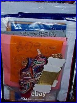 Bucilla NATIVITY Felt Holy Christmas Tree Skirt Kit RARE Sterilized BLUE VNTG