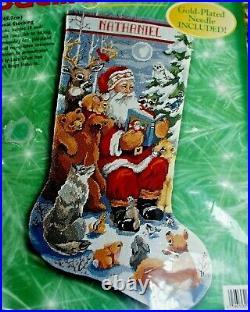 Bucilla Needlepoint Christmas Stocking Kit Woodland Storytime Santa 18 60759