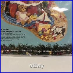 Bucilla Needlepoint Stocking Kit Santas Visit Gillum 6070 Christmas Teddy Bear