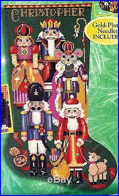 Bucilla Nutcracker Soldier Santa Christmas Needlepoint Stocking Kit 60777 E
