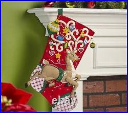 Bucilla ORNAMENTAL REINDEER Felt Christmas Stocking Kit-OOP Factory Direct 18