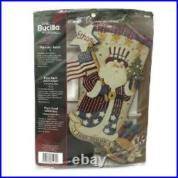 Bucilla Patriotic Santa #85430 18 Felt Stocking Christmas Holiday Craft Kit NEW