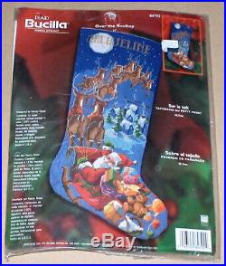 Bucilla / Rossi Over the Rooftop Santa & Reindeer Needlepoint Stocking Kit NIP