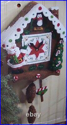 Bucilla SANTA CUCKOO CLOCK Felt Christmas Wall Hanging Kit OOP Factory Direct