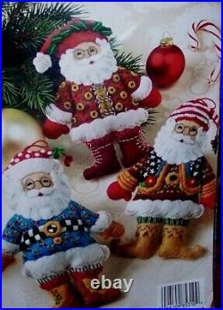 Bucilla SANTA ORNAMENTS Mary Engelbreit Felt Christmas Kit (6) VERY RARE New OOP
