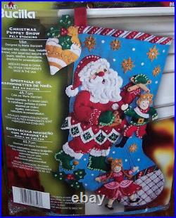 Bucilla SANTA PUPPET SHOW Felt Christmas Stocking Kit OOP Victorian Marionettes