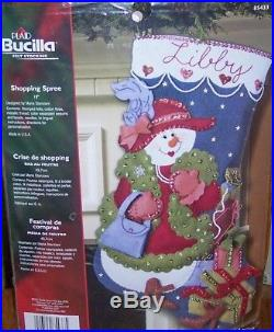 Bucilla SHOPPING SPREE Felt Christmas Stocking Kit RARE 85433 Girl Lady Red Hat